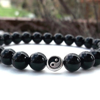 Men's Yin and Yang Bracelet, Mens Black Onyx, Mens Balance Bracelet, Men's Bracelet, Men's Black Bracelet, Men's Jewelry, Gift for Him