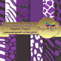 80% OFF Sale WILD About Purple Black ,paperpacks, commercial use, digital scrapbook papers, vector graphics, printable, Instant Download