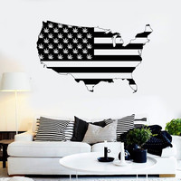 Vinyl Wall Decal United States Map Marijuana Smoking Weed Stickers (ig3680)
