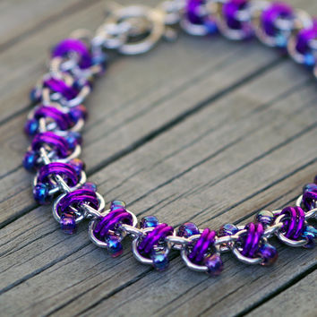 Purple and silver aluminum beaded chain maille bracelet