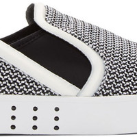 Black and White Elastic Mesh Laver Sneakers