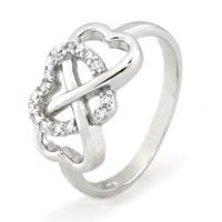 Sterling Silver Heart Infinity Ring w/ Cubic Zirconia - Available Size: 4, 4.5, 5, 5.5, 6, 6.5, 7, 7.5, 8, 8.5, 9, 9.5, 10: Jewelry: Amazon.com