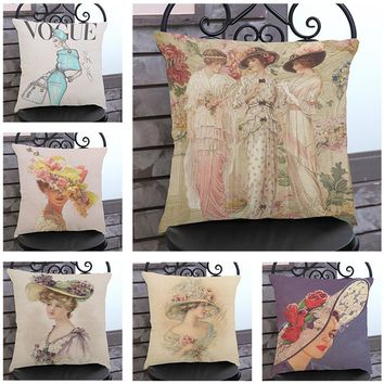 Oil painting woman printing cotton linen decorative pillow car sofa cushions DIY personality chair waist pillow Customized 45cm