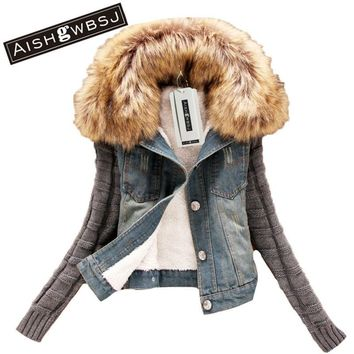 AISHGWBSJ 2017 women's short denim jacket ladies winter slim yarn large fur collar lamb cotton wear cowboy outerwear jeans W253