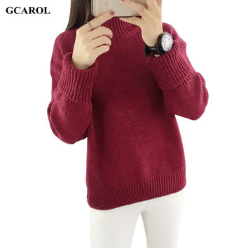Women Korean Standard Collar Basic Sweater Stretch Preppy Style Knitting Pullover Spring Autumn Winter Thick Jumper 5 Color