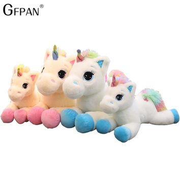 1pc 80-40cm Colorful  Tail Unicorn plush&stuffed Cartoon Kawaii Dolls Animal Lying Horse Birthday Gift For Children Baby Toy