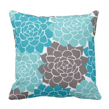 Aqua Teal and Graphite Grey Flower Collage Throw Pillow