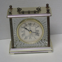 Vintage Paul Sebastian Crystal Glass Brass Desk Clock
