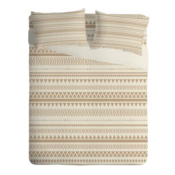 Allyson Johnson Tan Aztec Sheet Set Lightweight