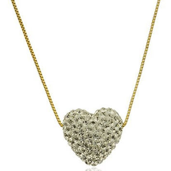 10k Yellow Gold Bonded White Swarvoski Heart Shape Box Chain Necklace