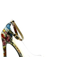 Lucite Ankle Strap Pumps - Newspaper