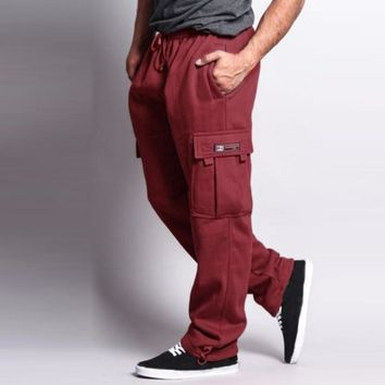 Fleece Lined Warm Jogger Pants Men Thick Velvet Cargo Sweatpants