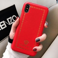 Versace Fashion New Pattern Human Head Print Leather Case Women Men Protective Cover Phone Case Red