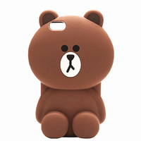 2016 Newest Lovely 3D Cute Soft Silicone Teddy Bear Back Case Cover For iphone 7 7plus 6 6S 6+ iphone6 plus 5 5S