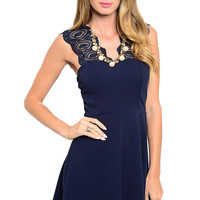 Fit & Flare Cocktail Dress W/ Lace Straps