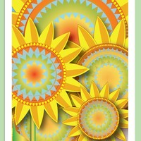 Greeting sunflower card