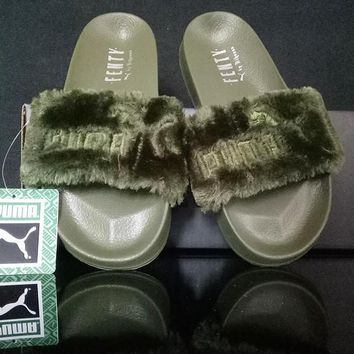 Puma Rihanna Leadcat Fenty Fashion Fur Slide Sandal Slipper Shoes-3