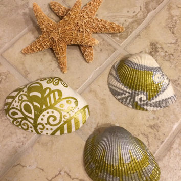 Zentangle Painted  Sea Shell Home Coastal Decor Gold Silver and White Nature Tropical Beach