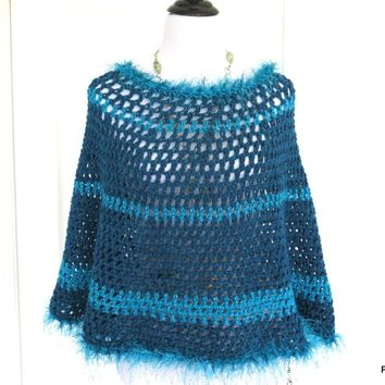 Bright Blue Circle Poncho with Fur Trim