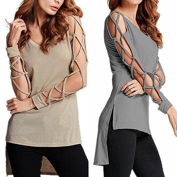 Sexy Bandage Hollow Out Long Sleeve Women Blouse Shirt 2018 Spring Autumn V Neck High Low Split Tops Club Party Blusas