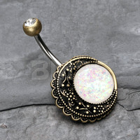 Vintage Boho Rustica Filigree Moon Opal Belly Button Ring