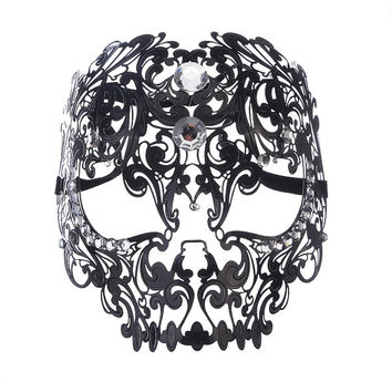 Tiger head mask Halloween gothic skull hollow black metal unique design Masquerade Mask full face mask of black silk