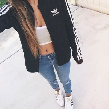 adidas Originals Black Three Stripe Bomber Jacket
