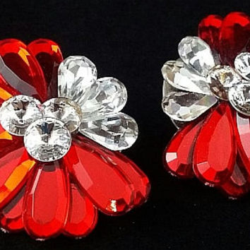 Big Bold Earrings Red & Clear Ice Rhinestones Flower Cluster Clip On Style Silver Metal 1 3/4 in Vintage