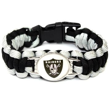 Oakland Raiders Paracord Bracelets American Football Fans Bracelets Paracord Survival Bracelet Frienship Bracelets 10pcs/lot