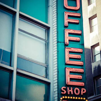 Vintage Retro Neon Coffee Shop Sign Art Print Photography New York City Union Square Home Decor Wall Art Teal Turquoise Decor