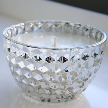 Egyptian Amber Hand Poured Soy Candle In A 14.5oz Silver Bowl / Silver Candles / Soy Candles