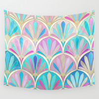 Glamorous Twenties Art Deco Pastel Pattern Wall Tapestry by Micklyn