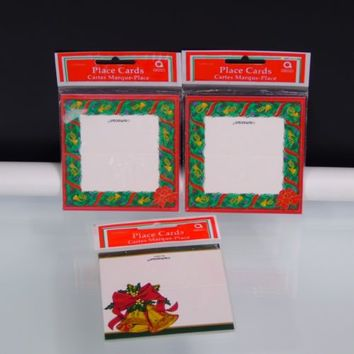 Amscan Table Place Cards Christmas Holiday Bells Wreath 3 Packs of 12 Pieces New