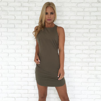 Full Control Bodycon Dress In Olive