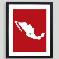 My Heart Resides In Mexico Art Print - Any City, Town, Country or State Map Customized Silhouette Gift Black Friday AND Cyber Monday Sale