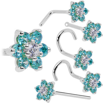 Solid 14KT White Gold Mint Green and Clear Cubic Zirconia Flower Nose Ring
