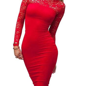 Turtleneck Long Sleeve Lace Midi Dress