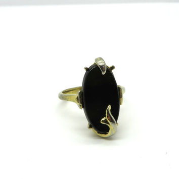 Vintage AVON Black Onyx Ring, Gold Tone Nightflower Ring, Size 6.25