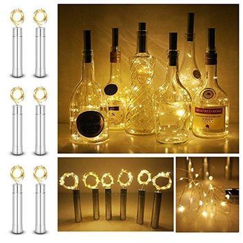 6 Pack Wine Bottle Cork Lights 15LEDs Warm White Fairy Light Starry Light for Bottle DIY, Table Decor, Festival Decor, Bedroom, Christmas, Wedding, Halloween, Party, AA Battery Power (15L-WW)