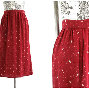 Vintage Carole Little Saint Tropez Maroon Cream Floral Polka Dot Silk Skirt