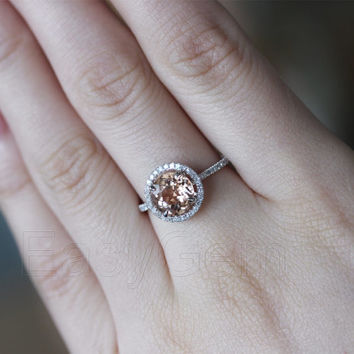 STOCK!!!HALO 2.35ct Morganite .32ct Diamond Claw Prongs Solid 14K White Gold Wedding Ring Size 7