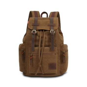 Vintage Men Casual Canvas Leather Backpack Rucksack Satchel  Bag School Bag LXX9