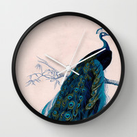 Vintage peacock bird print colorful feathers 1800s antique art nouveau deco nature book plate Wall Clock by iGallery