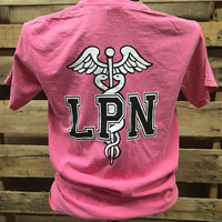 Southern Chics Comfort Colors Nurse LPN Licensed Practical Nurse Girlie Bright T Shirt