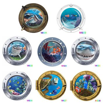 find nemo dory fish submarine portholes wall stickers for kids room home decor diy peel and stick 3d window wall decals poster