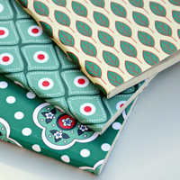 Set of 3 notebooks A5 - Green pattern