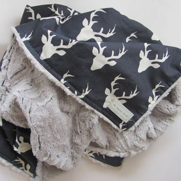 Baby boy blanket, Baby nursery, Deer minky blanket, Buck plush minky blanket