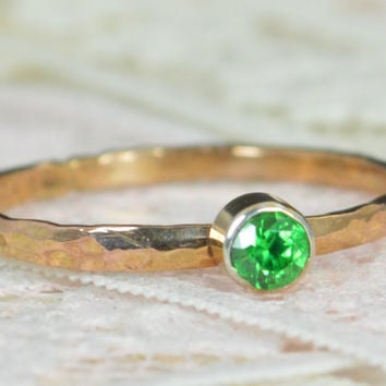 Emerald Engagement Ring, 14k Rose Gold, Emerald Wedding Ring Set, Rustic Wedding Ring Set, May Birthstone, Solid 14k Emerald Ring