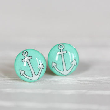 Anchor Post Earrings in Mint - Hypoallergenic Studs