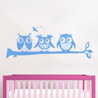 Wall Decals Owl on Branch Childrens Decor Kids Vinyl Sticker Wall Decal Nursery Baby Room Bedroom Murals Playroom - Owl Decor SV6002